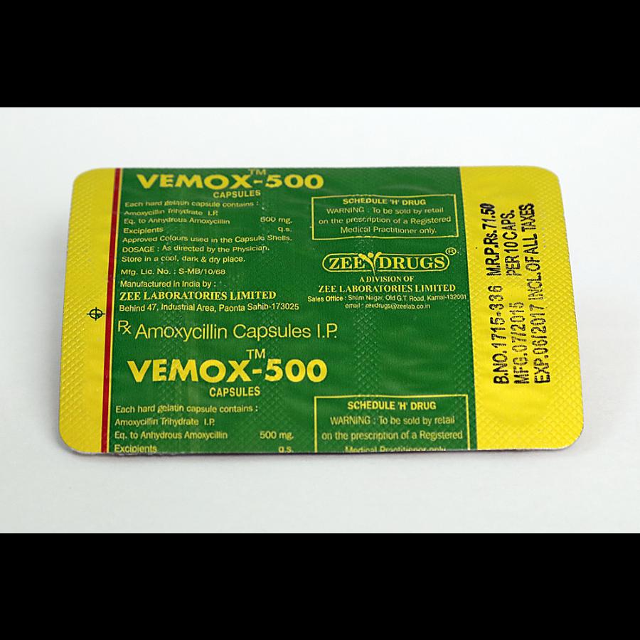 Vemox 500 (amoxicillin) 500mg (30 capsules)